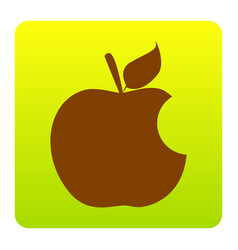 Bite apple sign brown icon at green vector