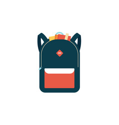 Blue backpack or schoolbag in flat style vector