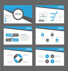 Blue Black presentation templates Infographic set vector