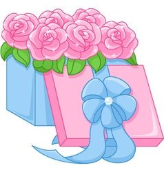 Box with roses vector image