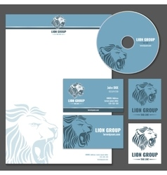 Business card template with lion logo vector image