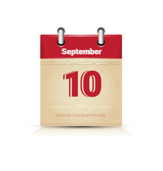 Calendar page happy grandparents day september vector