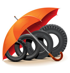 Car tires with umbrella vector