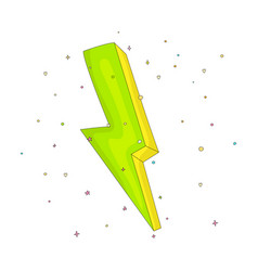 cartoon green an yellow lightning icon with vector image