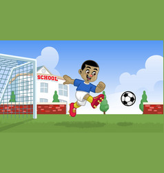 cartoon soccer player playing on school field vector image