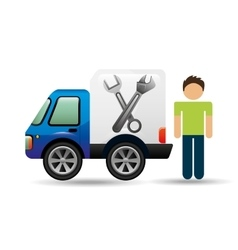 character man car repair service design vector image