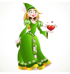 Charming princess in a green dress giving heart vector