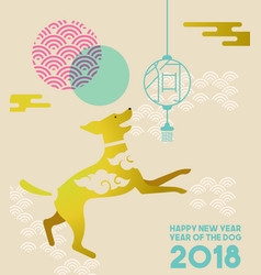 chinese new year 2018 gold flat dog greeting card vector image