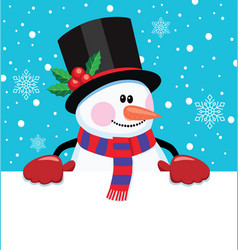 christmas cartoon of snowman vector image
