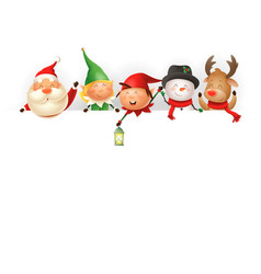 christmas friends on board - template with santa vector image
