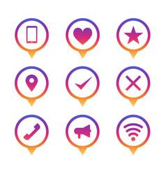 colorful circle pin icon set modern ui signs vector image