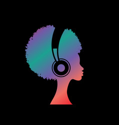 colorful curly girl listens to music on headphones vector image
