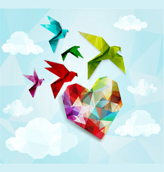 Colorful origami birds with heart background vector