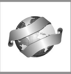Creative abstract globe ribbon logo design vector