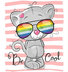 Cute kitten with sun glasses vector