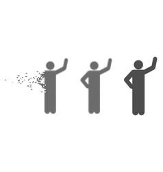 Disintegrating pixel halftone assurance pose icon vector