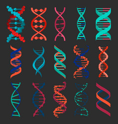 dna molecule sign set isolated on black background vector image