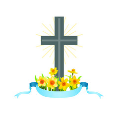 Easter cross with spring flowers vector
