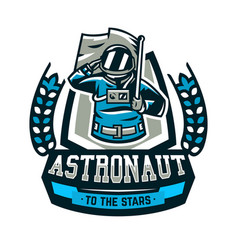 emblem logo an astronaut salutes and holds a vector image