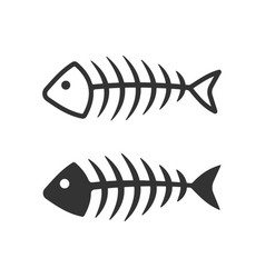 Fish bone icons filled and lined style vector