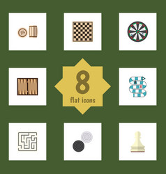 Flat icon play set of multiplayer dice chess vector