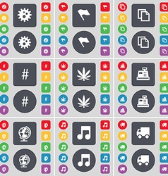 Gear Flag Copy Hashtag Marijuana Cash register vector
