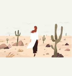 Girl in desert flat single vector