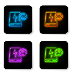 glowing neon power bank and gear icon isolated on vector image