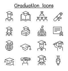 Graduation icon set in thin line style vector