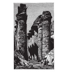 great hall of columns at karnak architecture vector image