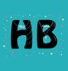 Happy birthday black letters with pearl collars vector