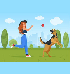 happy girl playing with dog pet young woman vector image