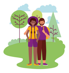 happy young people natural outdoors vector image