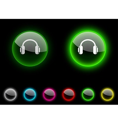 headphones button vector image