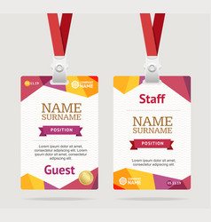 Id card template plastic badge vector
