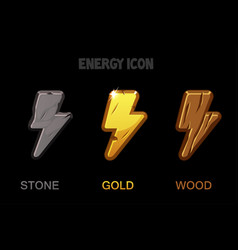 isolated golden stone and wooden energy icons vector image