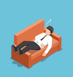 Isometric businessman sleeping on the couch vector
