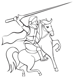 Knight with lance on horseback vector