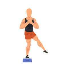 Man doing glute exercise using steps platform vector