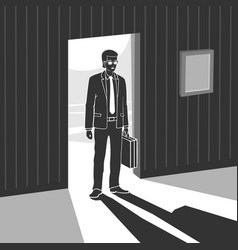 Man enters into dark room vector