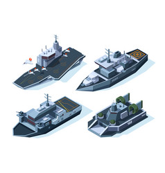 Military boats isometric american navy vector