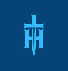 Modern professional logo h knife in blue theme vector