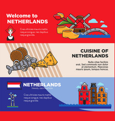 Netherlands travel destination promo posters set vector