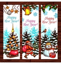 New Year banners on wooden background vector image