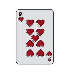 Nine of hearts french playing cards related icon vector