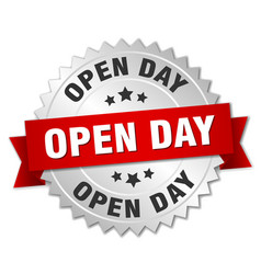 Open day round isolated silver badge vector