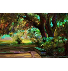 Original landscape painting park in spring vector
