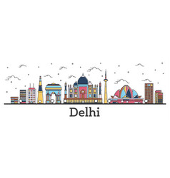 outline delhi india city skyline with color vector image
