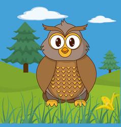 Owl cute animal in landscape vector