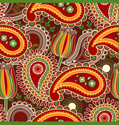 Paisley seamless pattern and tulips over dark vector